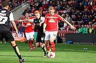 Stephen Kingsley of Crewe Alexandra gets in front of Tom Smith of Swindon Town. Skybet football league 1 match, Crewe Alexandra v Swindon Town at The Alexandra Stadium in Crewe, Cheshire on Saturday 5th September 2015.<br /> pic by Chris Stading, Andrew Orchard sports photography.