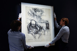 """© Licensed to London News Pictures. 31/03/2017. London, UK. Technicians hand """"Churchill in the House of Commons"""" , by Gerald Scarfe (Est. 100-150k).  Press preview of """"Made in Britain"""" at Sotheby's in New Bond Street.  The auction on 5 April celebrates innovative British art in the twentieth century as well as artwork by political cartoonist Gerald Scarfe. Photo credit : Stephen Chung/LNP"""