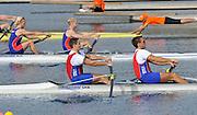 Marathon, GREECE,  SRB M2-  Bow Goren JAGAR and Nikola STOJIC, at the start of their morning heat at the FISA European Rowing Championships.  Lake Schinias Rowing Course, 19/09/2008  [Mandatory Credit Peter Spurrier/ Intersport Images] , Rowing Course; Lake Schinias Olympic Rowing Course. GREECE