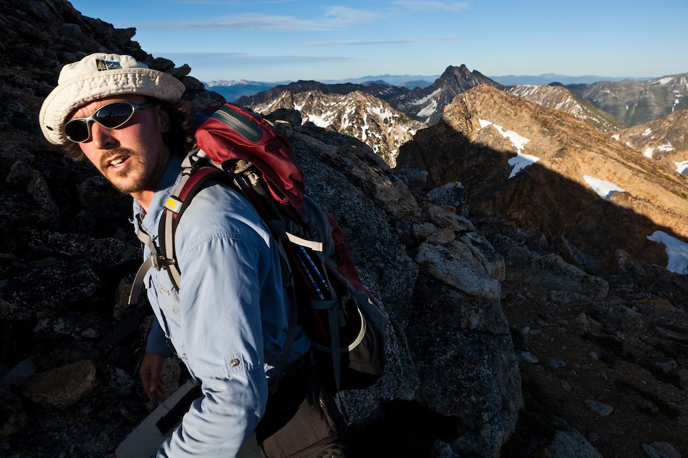 Kevin Steffa hikes up the rocky slopes of Golden Horn, Okanogan National Forest, Washington.