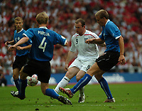 Photo: Tony Oudot.<br /> England v Estonia. UEFA European Championships Qualifying. 13/10/2007.<br /> Wayne Rooney of England tries to chip the keeper from long range