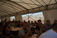 A makeshift restaurant has been installed under a tent by the owners of 7 restaurant destroyed by the earthquake in Castelluccio di Norcia