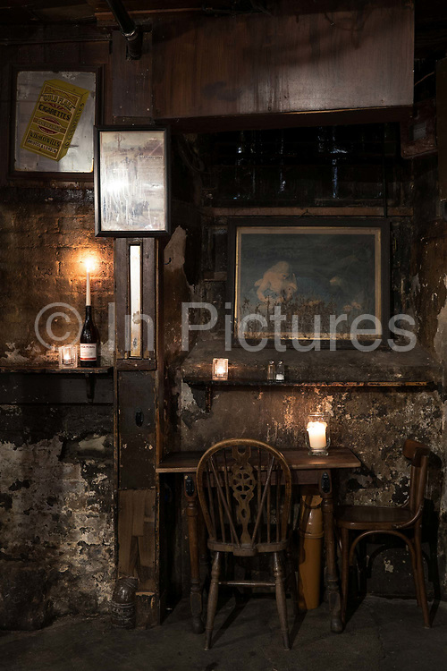 Interior of Gordons Wine Bar on the 7th October 2019 in London in the United Kingdom.