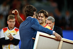 May 8, 2019 - Madrid, MADRID, SPAIN - Feliciano Lopez and David Ferrer (ESP) during his retirement from professional tennis during the Mutua Madrid Open 2019 (ATP Masters 1000 and WTA Premier) tenis tournament at Caja Magica in Madrid, Spain, on May 08, 2019. (Credit Image: © AFP7 via ZUMA Wire)