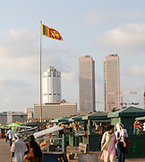 Street stalls on seafront at Galle Face Green, Colombo, Sri Lanka, Asia World Trade Centre tower blocks