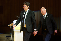 CARDIFF, WALES - Monday, December 5, 2016: Wales manager Chris Coleman and coach Kit Symons walk on stage to be presented with the Team of the Year Award at the Wales Sport Awards 2016 at the Millennium Centre. (Pic by Ian Cook/Propaganda)
