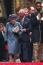 Queen Elizabeth II and the Prince of Wales leaving after the Commonwealth Service at Westminster Abbey, London on Commonwealth Day. The service is the Duke and Duchess of Sussex's final official engagement before they quit royal life.
