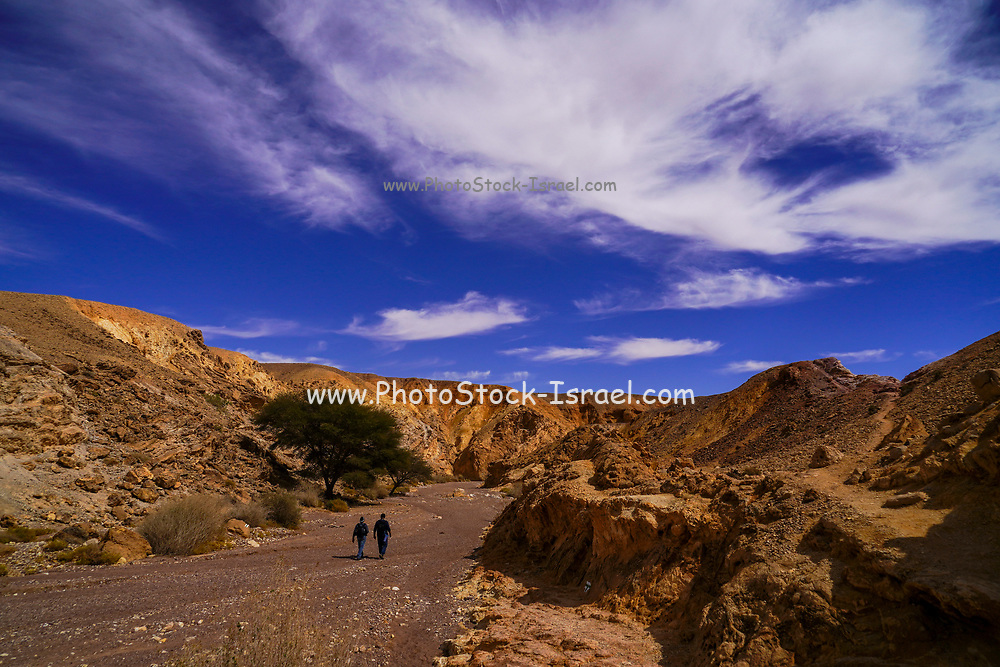 Hikers hiking in the Red Canyon near Eilat, Israel