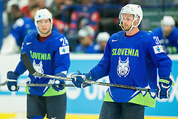 Rok Ticar of Slovenia and Jan Mursak of Slovenia during Ice Hockey match between Slovenia and USA at Day 10 in Group B of 2015 IIHF World Championship, on May 10, 2015 in CEZ Arena, Ostrava, Czech Republic. Photo by Vid Ponikvar / Sportida