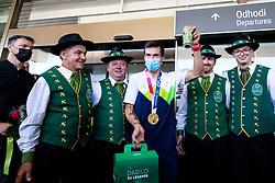 Primoz Roglic, Olympic gold medalist with Lasko brewers during his arrival from Tokyo 2020 on July 30, 2021 in Airport Joze Pucnik, Brnik, Ljubljana, Slovenia. Photo by Matic Klansek Velej / Sportida