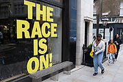 The race is on window display on 3rd July 2021 in London, United Kingdom.