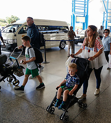 EXCLUSIVE: *NO WEB UNTIL 1200PM BST MAY 23* Wayne and Coleen Rooney and family arrives at Grantley Adams International airport in Barbados. One of the couple's sons is spotted with a red eye as Coleen pushed him in a stroller. 17 Apr 2018 Pictured: Wayne Rooney and Coleen Rooney. Photo credit: MEGA TheMegaAgency.com +1 888 505 6342