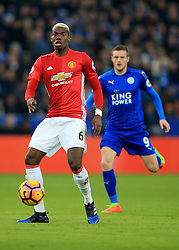 5 February 2017 - Premier League - Leicester City v Manchester United - Paul Pogba of Manchester United in action with Jamie Vardy of Leicester City - Photo: Marc Atkins / Offside.