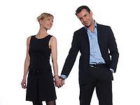 beautiful caucasian couple on studio white background