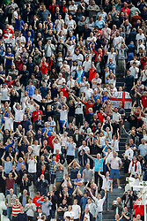 England supporters cheer and chant as the match ends with a 1-1 draw - Photo mandatory by-line: Rogan Thomson/JMP - 07966 386802 - 31/03/2015 - SPORT - FOOTBALL - Turin, Italy - Juventus Stadium - Italy v England - FIFA International Friendly Match.