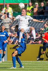 09.08.2015, Stadion Lohmühle, Luebeck, GER, DFB Pokal, VfB Luebeck vs SC Paderborn 07, 1. Runde, im Bild Nils Lange (Nr. 14, VfB Luebeck) gegen Dominik Wydra (Nr. 5, SC Paderborn) // during German DFB Pokal first round match between VfB Luebeck vs SC Paderborn 07 at the Stadion Lohmühle in Luebeck, Germany on 2015/08/09. EXPA Pictures © 2015, PhotoCredit: EXPA/ Eibner-Pressefoto/ KOENIG<br /> <br /> *****ATTENTION - OUT of GER*****