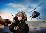 Female Waiting for helicopter rival in Iceland shot as a Environmental Portraiture on a PhaseOne IQ180