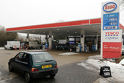© under license to London News Pictures..6.12.2010  A  petrol station runs out of Diesel today (Mon) The Esso station on Sevenoaks Way,Orpington,Kent, has no a sign up saying 'sorry no diesle' Picture credit should read Grant Falvey/London News Pictures.