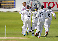 Gareth Berg (Hampshire CCC) celebrates with team mates after taking the wicket of Scott Borthwick (Durham County Cricket Club) during the LV County Championship Div 1 match between Durham County Cricket Club and Hampshire County Cricket Club at the Emirates Durham ICG Ground, Chester-le-Street, United Kingdom on 1 September 2015. Photo by George Ledger.