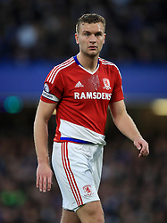 """Middlesbrough's Ben Gibson during the Premier League match at Stamford Bridge, London. PRESS ASSOCIATION Photo. Picture date: Monday May 8, 2017. See PA story SOCCER Chelsea. Photo credit should read: Mike Egerton/PA Wire. RESTRICTIONS: EDITORIAL USE ONLY No use with unauthorised audio, video, data, fixture lists, club/league logos or """"live"""" services. Online in-match use limited to 75 images, no video emulation. No use in betting, games or single club/league/player publications."""