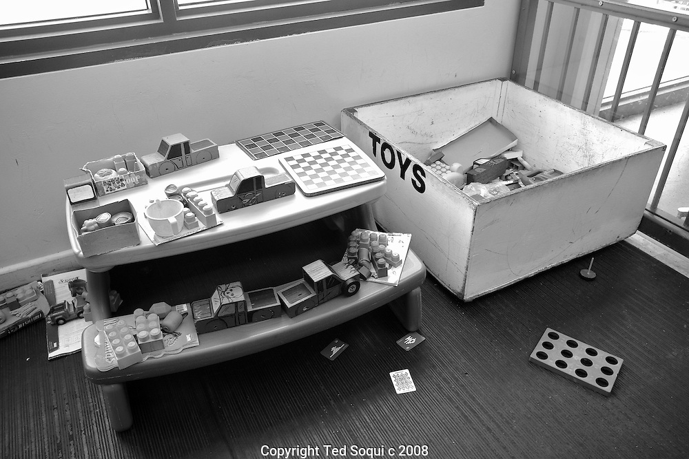 Inmate visiting area. Toys for children..California State Prison, Los Angeles County.