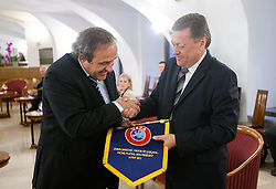 Michel François Platini, president of Union of European Football Associations (UEFA) and Zoran Jankovic, Mayor of Ljubljana at visit of M. Platini in Slovenia prior to the UEFA European Under-17 Championship Final match between Germany and Netherlands on May 16, 2012 in City Hall, Ljubljana, Slovenia. (Photo by Vid Ponikvar / Sportida.com)