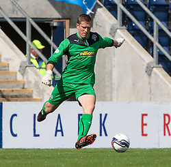 Morton's keeper Derek Gaston.<br /> Falkirk 3 v 1 Morton, Scottish Championship 17/8/2013.<br /> ©Michael Schofield.
