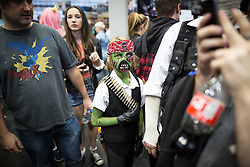 © Licensed to London News Pictures . 26/07/2015 . Manchester , UK . Cosplayers inside the venue . Comic Con convention at Manchester Central Convention Centre . Photo credit : Joel Goodman/LNP