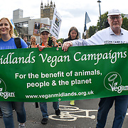 Thousands of veganist activists join The Official Animal Rights March 2018 demanding an end to all animal oppression - Go Vegan in London, UK on 25th August 2018.