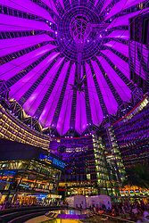 Night view of roof of  Sony Center in Berlin Germany