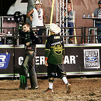 CHEYENNE, WY - JULY 26: Cody Teel celebrates his ride of bull American Gangster during the Professional Bull Riders Last Cowboy Standing on July 26, 2021, at the Cheyenne Frontier Days, Cheyenne, WY. (Photo by Chris Elise)