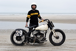 Andy Robitaille with his 1946 Harley-Davidson WL 45 inch Flathead racer at TROG (The Race Of Gentlemen). Wildwood, NJ. USA. Sunday June 10, 2018. Photography ©2018 Michael Lichter.