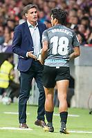 Malaga's coach Jose Miguel Gonzalez 'Michel' and Roberto Jose Rosales during La Liga match between Atletico de Madrid and Malaga CF at Wanda Metropolitano in Madrid, Spain September 16, 2017. (ALTERPHOTOS/Borja B.Hojas)