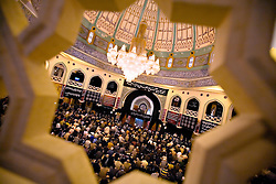 Sayyed Mohammad Hussein Fadlallah speaks to followers inside the Al-Hassanein Mosque, Beirut, Lebanon, March 17, 2006. He is the imam of the mosque and was once considered the spiritual head of Hezbollah.