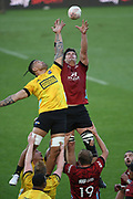 Crusaders Scott Barrett under pressure from Hurricanes Vaea Fifita in the lineout in the Super Rugby match, Hurricanes v Crusaders, Sky Stadium, Wellington, Sunday, April 11, 2021. Copyright photo: Kerry Marshall / www.photosport.nz
