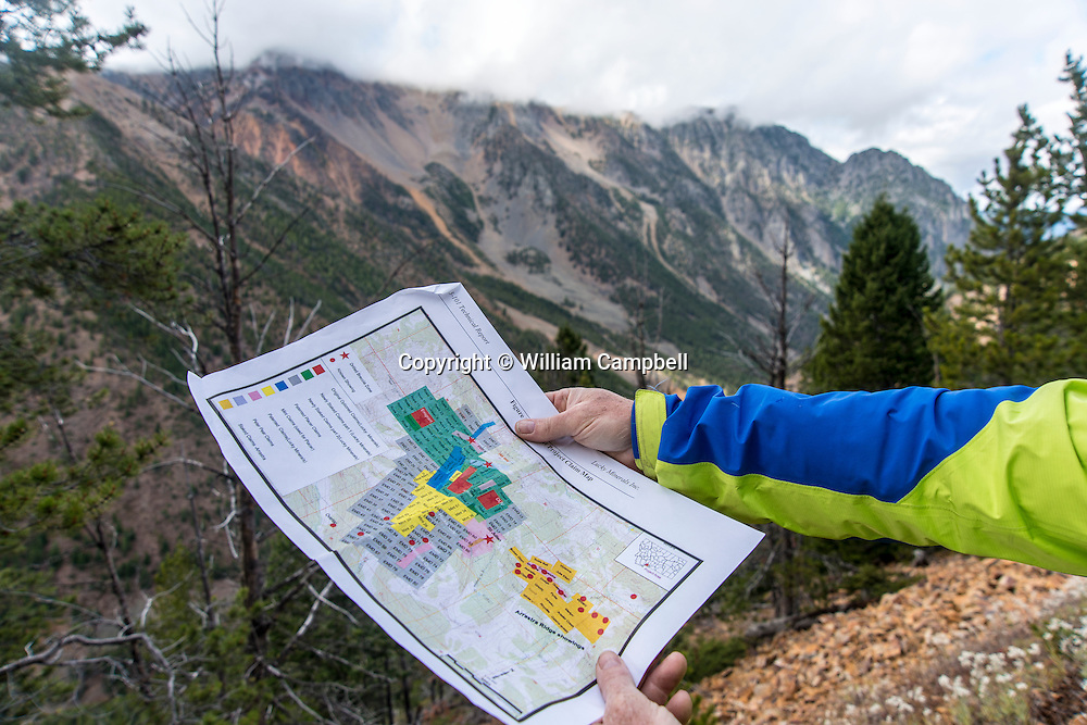 Map of mining claims and leases acquired by Lucky Minerals in Emigrant Gulch, Montana. Emigrant Peak is in the clouds to the background right.