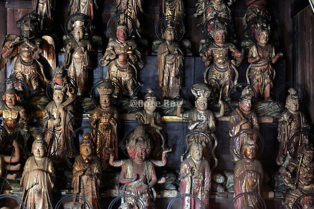 statuette of Thirty Three Kannon inside the Sugimotodera  Temple Kamakura Japan