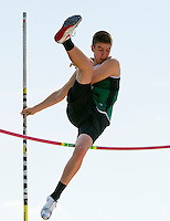 Hopkinton's Slattery Donohue at the pole vault during the Merrimack Valley Invitational track meet Saturday.  (Karen Bobotas/for the Concord Monitor)
