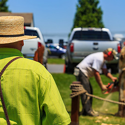 Intercourse, PA - June 18, 2016: An Amish man watches a wood carver using a chain saw to sculpt an eagle at the Community Park at the Intercourse Heritage Days event.