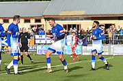 Liam Hughes (M) is celebrating as he just scoring their fourth goal against Ashton United during the Northern Premier League match between Matlock FC and Ashton United at the Proctor Cars Stadium on October 10th, 2020 in Matlock, Derbyshire. Local fans welcomed to watch the match maintaining Government's Covid-19 guidelines. (VXP Photo/ Shaun Hardwick)