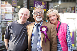 """© Licensed to London News Pictures . FILE PICTURE DATED 05/06/2014 of AMJAD BASHIR (c) with UKIP supporters outside th UKIP shop in Newark , as this evening (24th January 2015) UKIP have announced their MEP for Yorkshire and the Humber has been suspended from the party over"""" serious """" financial issues . Bashir , who is UKIP ' s Communities Spokesman , had been expected to announce his defection to the Conservative Party this evening  (Saturday 24th January 2015) .  Photo credit : Joel Goodman/LNP"""