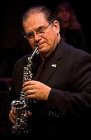 John Pastin steps in to play soprano sax with Rowan University's presentation of The Percussion Ensemble and Marimba Band.