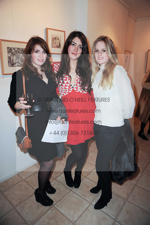 Left to right, LADY ALEXANDRA LINDSAY-BETHUNE, AMBER GUINNESS and LADY FRANCES LINDSAY-BETHUNE at a private view of art by William Roper-Curzon entitled 'The Gathering' held at Aretha Campbell Fine Art, 3 Bedfordbury Place, London on 23rd February 2010.