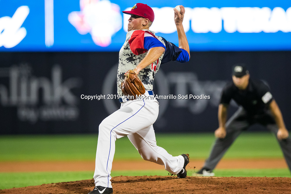 Amarillo Sod Poodles pitcher Kyle Lloyd (29) pitches against the Midland RockHounds on Monday, Aug. 12, 2019, at HODGETOWN in Amarillo, Texas. [Photo by John Moore/Amarillo Sod Poodles]