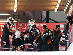 04.12.2011, Eiskanal, Igls, AUT, Viessmann FIBT Bob und Skeleton Weltcup, vierer Bob Herren, 1. Durchgang, im Bild Bob GER 3 mit Manuel Machata, Florian Becke, Andreas Bredau, Christian Poser // Bob Germany 3 with Manuel Machata, Florian Becke, Andreas Bredau, Christian Poser during first run four Man Bob at FIBT Viessmann Bobsleigh and Skeleton world cup at Olympic ice canal, Innsbruck Igls, Austria on 2011/12/04. EXPA Pictures © 2011, PhotoCredit: EXPA/ Johann Groder