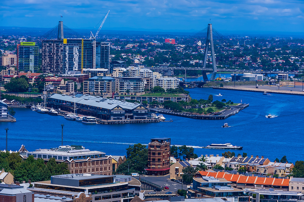 Harbor view from the Sydney Harbour Bridge, Sydney, New South Wales, Australia