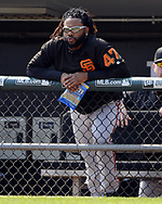 CHICAGO - SEPTEMBER 10:  Johnny Cueto #47 of the San Francisco Giants looks on against the Chicago White Sox on September 10, 2017 at Guaranteed Rate Field in Chicago, Illinois.  The White Sox defeated the Giants 8-1.  (Photo by Ron Vesely) Subject:   Johnny Cueto