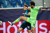 SAINT PETERSBURG, RUSSIA - NOVEMBER 04: Marco Parolo of SS Lazio contests with Daler Kuzyayev of Zenit St Petersburg during the UEFA Champions League Group F stage match between Zenit St. Petersburg and SS Lazio at Gazprom Arena on November 4, 2020 in Saint Petersburg, Russia. (Photo by MB Media)
