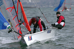 Day 1 of the RYA Youth National Championships 2013 held at Largs Sailing Club, Scotland from the 31st March - 5th April. .29er, 1972, Josh BELBEN, Robert MASTERMAN, Stokes Bay SC\..For Further Information Contact..Matt Carter.Racing Communications Officer.Royal Yachting Association.M: 07769 505203.E: matt.carter@rya.org.uk ..Image Credit Marc Turner / RYA..