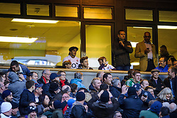 David Beckham and his sons Romeo, Cruz and Brooklyn look on from the South West stand hospitality during the second half of the match - Photo mandatory by-line: Rogan Thomson/JMP - Tel: Mobile: 07966 386802 09/11/2013 - SPORT - RUGBY UNION -  Twickenham Stadium, London - England v Argentina - QBE Autumn Internationals.